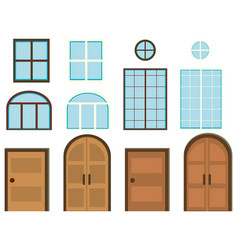 different styles of windows and doors vector image