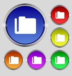 Document folder icon sign Round symbol on bright vector image