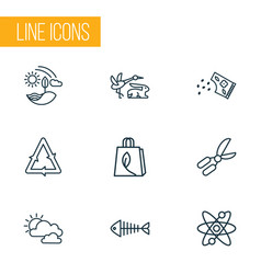 ecology icons line style set with fauna gardening vector image