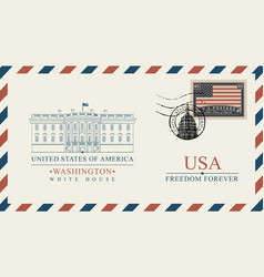 envelope with white house and american flag vector image