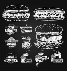 Fast food label logos and design elements chalk vector