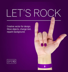 female hand with manicure on a purple background vector image