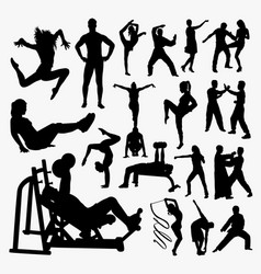 fitness and jogging people silhouette vector image