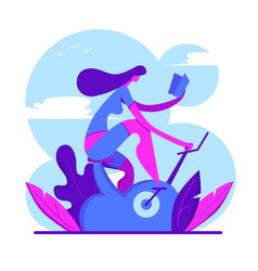 fitness woman working out on exercise bike and vector image