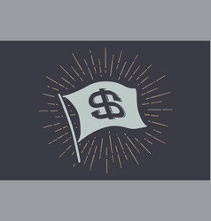 flag dollar old school flag banner with sign usd vector image