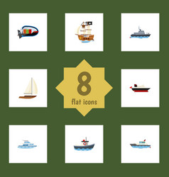 Flat icon vessel set of cargo boat yacht and vector
