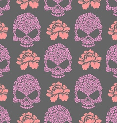 Flower skull seamless pttern Skull of pink flowers vector