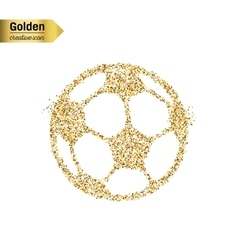 Gold glitter icon of Ball football isolated vector