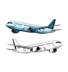 Hand drawn sketch aircraft in blue color vector