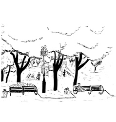 Hand drawn sketch of the city park with trees vector image