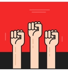 Hands with fists raised up symbol of vector image