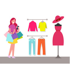 Hangers with varied clothes and cheerful customer vector