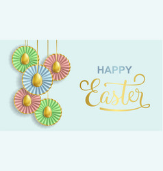 happy easter banner with realistic golden eggs and vector image