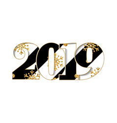 happy new year card black striped number 2019 vector image