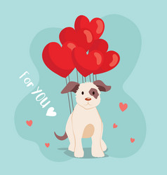 happy valentines day cute dog with balloon vector image