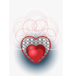 Heart with curves and beads vector image