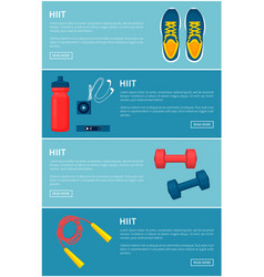 hiit sport equipment set colorful banner vector image