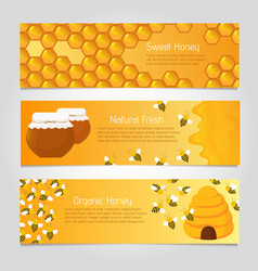 Honey banners cute cartoon honeybees with beehive vector