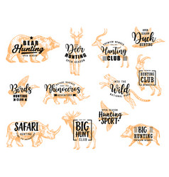Hunting wild animals and birds hunt club lettering vector