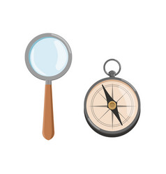 Icon of magnifying glass loupe with wooden handle vector