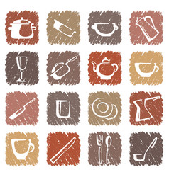 Icons of kitchen ware vector