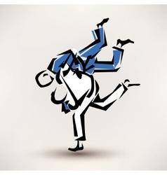 judo symbol one wrestler throw another vector image