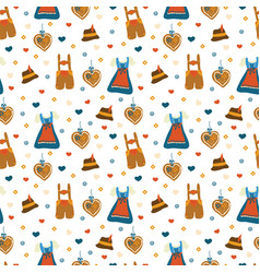 Lederhosen and dirndl dress oktoberfest pattern vector
