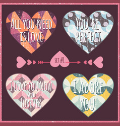 lettering valentines day in hearts 2 vector image