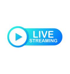 Live streaming flat logo - blue design element vector