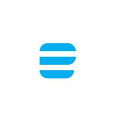 logo letter e blue stripes vector image