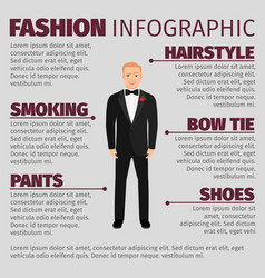 man in wedding suit fashion infographic vector image