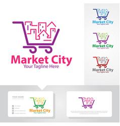market city logo designs vector image
