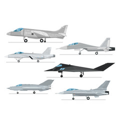 military jet aircraft isolated set vector image
