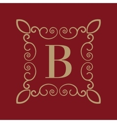 Monogram letter B Calligraphic ornament Gold vector