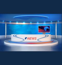 News room realistic studio for recording tv vector
