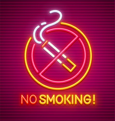 no smoking neon sign vector image