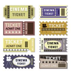 old cinema tickets for cinema vector image