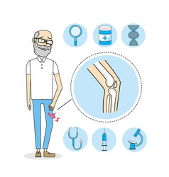 Old man with knee pain treatment vector