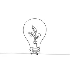 one continuous line drawing clean lightbulb vector image