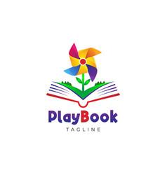Play book education logo design template vector