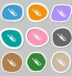 Plug mini jack icon symbols Multicolored paper vector
