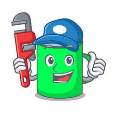 Plumber mug mascot cartoon style vector