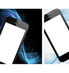 Realistic black smartphone backgrounds vector image