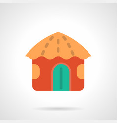 Red beach hut flat color icon vector