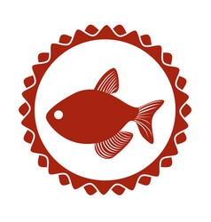 Red circular border stamp with fish vector