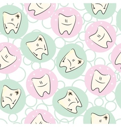 Seamless pattern baby teeth care vector