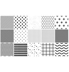 Seamless pattern set of geometric textures vector