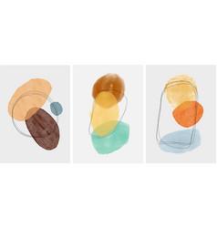 Set creative minimalist hand painted abstract vector