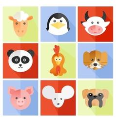 set flat animal vector image