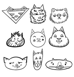 set of cats doodle cats funny faces of cats vector image